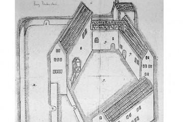 Planskizze der Burg Bartenstein, um 1600 (StA Würzburg, MRA Hessen-Kassel, 583 II/K 343)