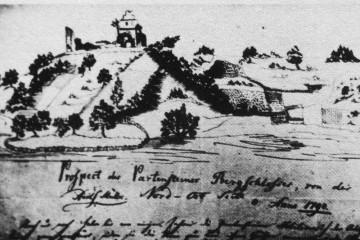 Ansicht der Ruine der Burg Bartenstein auf dem Prospekt von 1790 (aus: Spessart 1951, Nr. 6, S. 11)