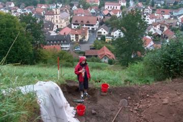 Wegen Regens musste die Grabung heute vorzeitig abgebrochen werden.