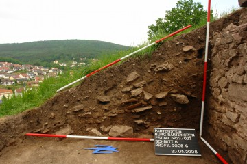 Schnitt durch den Schuttberg vor dem Schießschartenraum.
