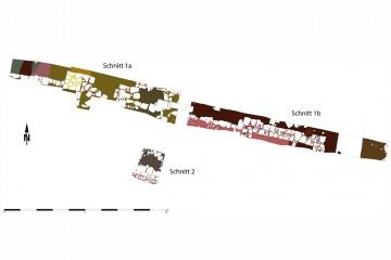 Befundplan der Grabungsflächen auf dem Hauck-Areal 2011. Umzeichnung: Sabrina Bachmann, Heimbuchenthal