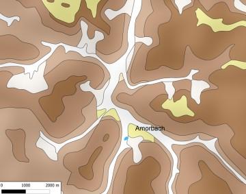 Schematische Übersicht der Lage Amorbachs im Talknoten mehrerer Bäche. Karte: Jürgen Jung, Spessart-GIS