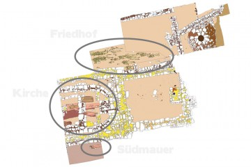 Plan des Kirchenbereichs des Klosters Einsiedel mit Eintragung der Bestattungen. Umzeichnung: Sabrina Bachmann, Heimbuchenthal
