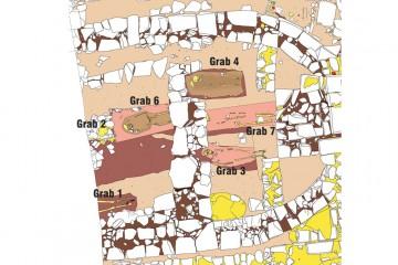 Plan des Kircheninneren mit den Phasen 1 und 2 und Eintragung der Kircheninnenbestattungen. Umzeichnung: Sabrina Bachmann, Heimbuchenthal