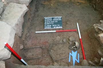 Grabungsfoto von Grab 6, Blick nach Süden