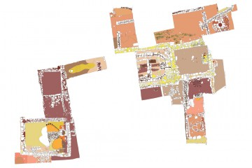 Plan der bis 2014 untersuchten Flächen des Klosters Elisabethenzell. Umzeichnung: Sabrina Bachmann, Heimbuchenthal