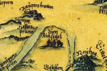 Pfinzing-Karte von 1594: Detail mit Kloster Elisabethenzell (StA Nürnberg)