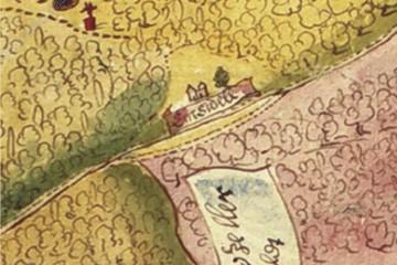 Jagdgerechtigkeiten im östlichen Spessart um 1600: Detail mit Kloster Elisabethenzell (StA Würzburg, Mainzer Risse und Pläne XI/69m)