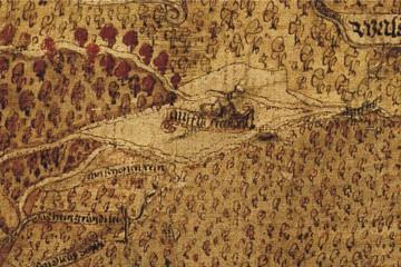 Hoffmann-Karte von 1584: Detail mit Kloster Elisabethenzell (StA Marburg, Karte A 11)