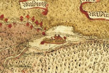 Amt Rieneck und Umgebung 1584: Detail mit Kloster Elisabethenzell (StA Marburg, Karte R II 45)
