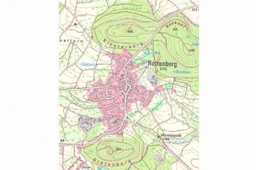 Rottenberg mit dem Klosterberg und dem Gräfenberg in der Topographischen Karte TK 1:25000 (1100m x 800m). Karte: Bayerische Vermessungsverwaltung