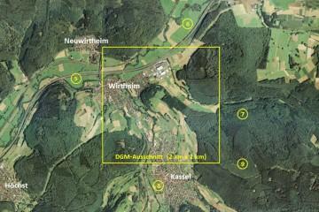 Gebietsübersicht mit der Fläche des DGM-Ausschnitts und den Positionen der 3D-Ansichten auf den DGM-Ausschnitt (Abb. 5 bis 9). Luftbild: Google Earth; Bearbeiter: Karl-Heinz Gertloff, Egelsbach
