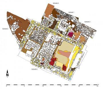 Gesamtplan der Grabungsschnitte 1-5. Umzeichnung: Sabrina Bachmann, Heimbuchenthal