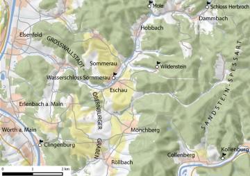 Topographische Übersicht des südwestlichen Spessart. Karte: Jürgen Jung, Spessart-GIS