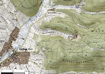 Topographische Übersicht von Burg Wildenstein und Eschau. Karte: Jürgen Jung, Spessart-GIS