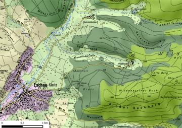 Kartierung der Landnutzung um Burg Wildenstein. Karte: Jürgen Jung, Spessart-GIS