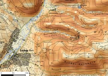 Kartierung der Hangneigungen um Burg Wildenstein. Karte: Jürgen Jung, Spessart-GIS