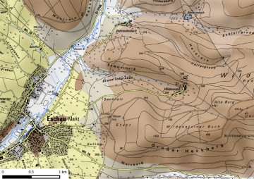 Geologische Übersicht von Burg Wildenstein und Eschau. Karte: Jürgen Jung, Spessart-GIS