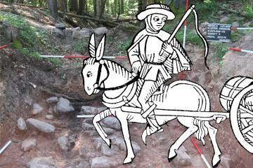 Ein Fuhrmann vor dem archäologischen Befund der Birkenhainer Straße