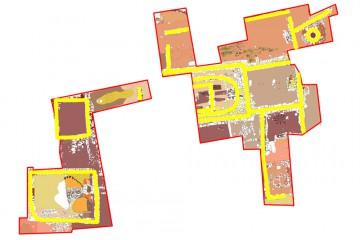 Umzeichnung der Grabungsbefunde 2012-2014 mit farbiger Markierung der Abgrenzung der Grabungsflächen (rot) und der freigelegten Mauern (gelb). Bearbeiter: Sabrina Bachmann, Heimbuchenthal