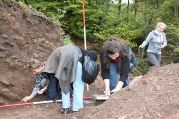 """Besuch der Grabungscrew der """"Mole"""" aus Heimbuchenthal"""