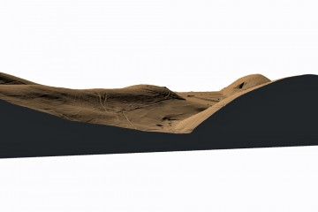 3D-Ansicht auf den DGM-Ausschnitt aus dem Tal des Hirschbachs: Der auf der Rückseite des Bergrückens gelegene Ringwall ist aus dieser Perspektive nicht sichtbar (Gelände 2-fach überhöht). Datengrundlage: Hessische Verwaltung für Bodenmanagement und Geoinformation; Bearbeiter: Karl-Heinz Gertloff, Egelsbach
