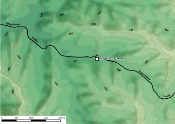 Höhenlagen in der Umgebung des Klosters Elisabethenzell. Bearbeitung: Spessart-GIS; Datengrundlage: Bayerische Vermessungsverwaltung.