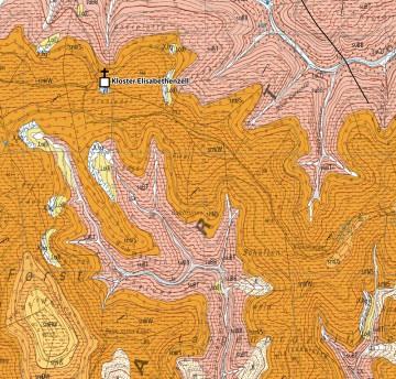 Geologische Detailkarte im Bereich des Klosters Elisabethenzell. Aus: Schwarzmeier 2013.
