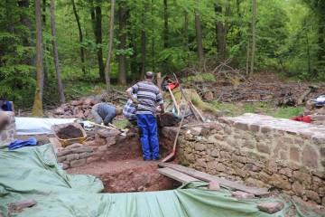 Die Mauern haben sich erstaunlich gut unter dem Wurzelwerk erhalten.