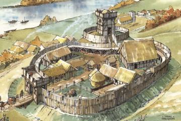Eine Vorstellung über das ursprüngliche Aussehen der Ketzelburg gibt uns die zeichnerische Rekonstruktion der etwa zeitgleichen Turmhügelburg von Halton in Lancashire in England. Zeichnung von John Hodgson 2003