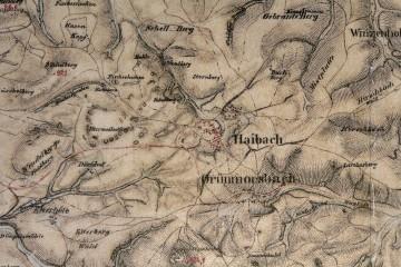 Kartenblatt – Hessenthal Nr. 86 der Bayerischen Uraufnahme zur Landesvermessung. Auf der vorliegenden Karte ist die Ketzelburg bezeichnet und als Burgstall eingetragen. Karte: Bayerische Vermessungsverwaltung