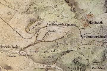 Aschaffenburg mit seiner Umgegend. Kolorierte Lithographie (Auszug aus einer Generalstabskarte von 1839) im Maßstab 1:25000. Karte: Bayerische Vermessungsverwaltung