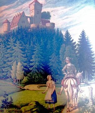 """Die Legende des Junkers von der Ketzelburg. Kolorierte Federzeichnung von Wendelin Großmann für das Gasthaus """"Zur Krone"""" in Haibach aus dem Jahre 1946."""