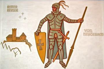 Ritter Reiner von Heydebach. Wandbild von Alois Bergmann-Franken für den Sitzungssaal des Haibacher Rathauses aus dem Jahre 1950.