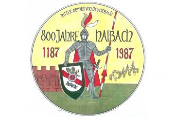"""Werbeaufkleber der Gemeinde Haibach zum Jubiläum """"800 Jahre Haibach"""" im Jahre 1987."""