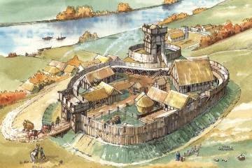 Dass aus Holz errichtete Niederadelsburgen nicht nur im Spessart standen, zeigt die Rekonstruktion der etwa zeitgleichen Anlage in Halton, Bowland (GB).