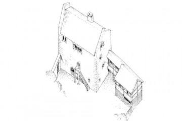 Rekonstruktionsszeichnung des Stäblerhauses in der Pfaffengasse in Aschaffenburg um 1200. Die Kurie (Wohnsitz eines Stiftsherren) des Stiftes St. Peter und Alexander erwies sich bei den Grabungen am Theaterplatz als ein Steinbau in einer ganzen Reihe romanischer Steinhäuser, die für Angehörige des Stiftes im 12. Jahrhundert in der Pfaffengasse errichtet wurden.