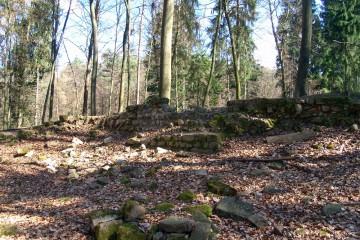 """Trotz der beträchtlichen Entfernung zu Aschaffenburg wird von einigen Historikern die Burg Waldenberg bei Kleinwallstadt als jene Anlage angesehen, die Erzbischof Konrad """"vor den Toren von Aschaffenburg"""" zerstören ließ."""