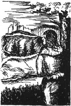 """Junker Haydebach vor der Ketzelburg. Illustration zur Legende """"Junker Rainer von Haydebach und die Drei Kreuze"""" in der Edition von Franz Grossmann aus dem Jahre 1949."""