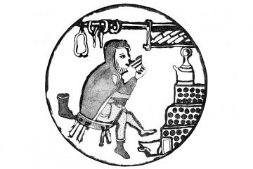 Die älteste Darstellung eines Kachelofens. Umzeichnung einer Miniatur aus einer um 1250 entstandenen Würzburger Handschrift. Bayerische Staatsbibliothek München, Lat. 23256. Umzeichnung: Harald Rosmanitz, Partenstein