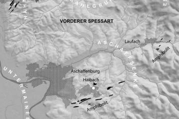 Die beiden Steinbeile von der Ketzelburg lassen vermuten, dass die Amphibolitvorkommen bei Haibach bereits vor über fünftausend Jahren als Rohstoff abgebaut wurden. Karte: Jürgen Jung, Spessart-GIS