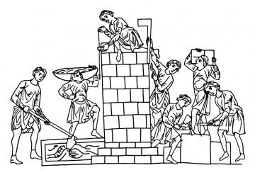 Steinmetze bei der Arbeit. Umzeichnung aus dem Hortus Deliciarum des Ilerrad von Landsberg aus dem Ende des 12. Jahrhunderts.