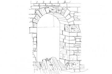 Die Skizze gibt uns eine erste Vorstellung davon, an welchen Stellen die Sandsteinquader von der Ketzelburg in das Eingangsportal des Palas eingemauert werden sollten. Zeichnung: Emil Albert, Haibach