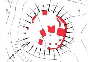 """Die Vermessung der alten Grabungslöcher brachte es an den Tag: Das """"Alte Schloss"""" bei Kleinwallstadt hat durch zahlreiche Grabungen in den letzten hundert Jahren erheblich an archäologisch verwertbarer Substanz eingebüßt. Karte: Harald Rosmanitz, Partenstein"""