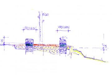 Eine erste Bauzeichnung verdeutlicht, dass das heute sichtbare Mauerwerk des Wohnturms über den Originalfundamenten liegt. Zeichnung: Emil Walter, Haibach
