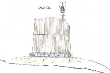 """Für das Burgfest im Sommer 2006 wurde der Wohnturm vom Heimat- und Geschichtsverein zur Verdeutlichung der ehemaligen Dimensionen des Baukörpers und zur Schaffung eines kleinen Ausstellungsraums bis in eine Höhe von zwei Geschossen """"wiedererrichtet"""". Planzeichnung: Emil Walter, Haibach"""