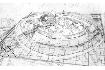 Blickwinkel: Projektion der Burg in das Gelände. Zeichnung: Christian Meyer zu Ermgassen, Kellinghusen