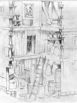 Inneneinrichtung: Entwurf zur Ausstattung des Turmes. Zeichnung: Christian Meyer zu Ermgassen, Kellinghusen