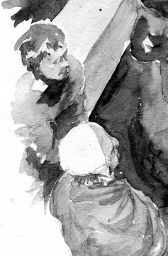 Augenzeugen: Aquarellskizze zur Personalentwicklung. Zeichnung: Christian Meyer zu Ermgassen, Kellinghusen