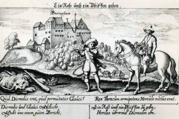 """Diese Darstellung der Burg Bartenstein in der im Jahre 1623 erschienenen und von Daniel Meisner herausgegebenen """"Sciographia cosmica"""" stammt von dem Kupferstecher Johann Eckard Löffler."""